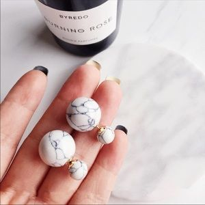 New Marble Stone Double Sided Stud Earrings